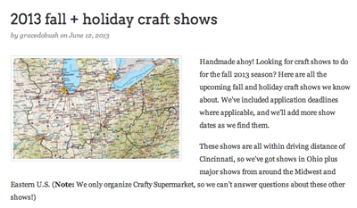Holiday Craft Shows Screen Shot
