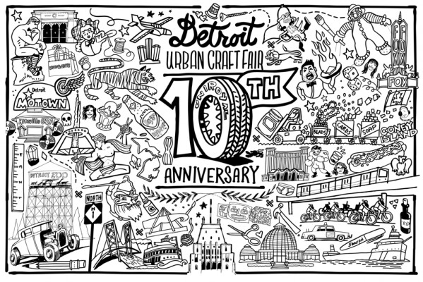 DUCF 10 year Birthday coloring page from Detroit GT, printed by Rocket One Stop in Royal Oak